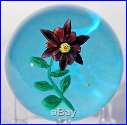 Beautiful and RARE Nontas KONTES Purple FLOWER Art Glass PAPERWEIGHT