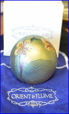 Beautiful handmade signed glass paper weight by ORIENT & FLUME