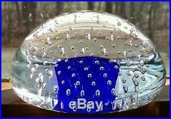 Big Beautiful Studio Glass Paper Weight Blue Bubbles Young Constantin Free Ship