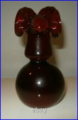 Blenko Glass Ram Head Paperweight, Red