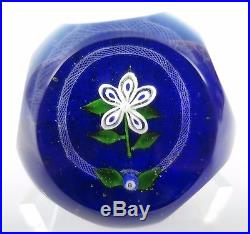 Bob Banford Flower with Latticino Ring Faceted Studio Art Glass Paperweight