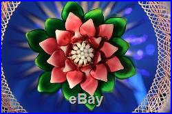 Bob Banford Studio Glass Paperweight Multifaceted Dahlia Flower Exquisite