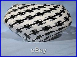 Bowl Hand Made Art Glass James Alloway Black and White 8 inch Diameter
