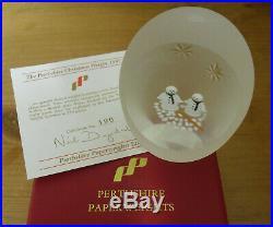 Boxed Ltd Ed Perthshire 1997 Christmas Paperweight Lampwork Snowmen(190/250)