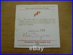 Boxed Ltd Ed Perthshire 1998E Roses & Latticinio Paperweight(106/200) 2 3/4
