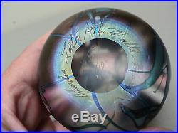 CHARLES LOTTON LTD. ED. #53/100 MULTI FLORA ART GLASS PAPERWEIGHT, c. 1976