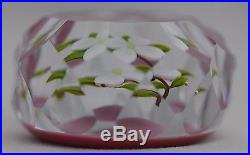 CHARMING Paul STANKARD Multifaceted DOGWOOD On PINK Ground ART Glass PAPERWEIGHT