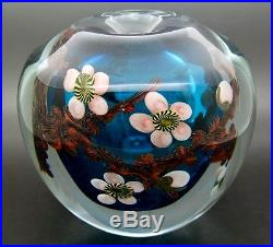 CHRIS HEILMAN Cherry Flowers Bloom Art Glass VASE/Paperweight, Apr 4.5Hx5W