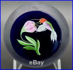 CORREIA Hummingbird & Flower Art Glass Limited Edition Paperweight, Apr 3Wx2.7H