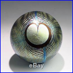 CORREIA PAPERWEIGHT Iridescent Blue Gold Peacock Feather 1979 Collectible