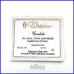 Caithness Whitefriars LE Candida glass paperweight + cert + box / presse papiers