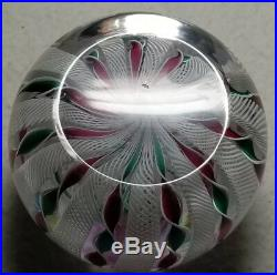 Cape Cod Glass Works Red/Green Latticino Crown Paperweight WithClichy Rose Cane