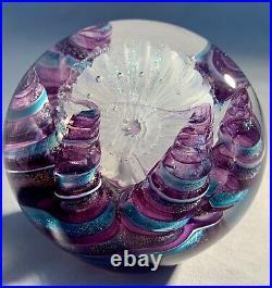 Carmen D'Aquila Papeweight Dichroic Purple Iridescent Art Glass Vintage Signed