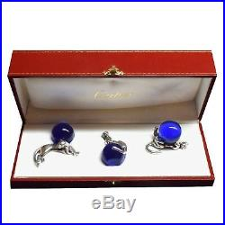 Cartier 3 Piece Silver & Blue Crystal Glass Panther Desk Paper Weight Ornaments