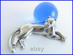 Cartier Panther Motif Paper Weight Silver 925 Blue Crystal Ball