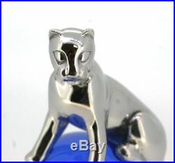 Cartier Paris Panther Briefbeschwerer Paperweight 925 Silber Blaue Kugel