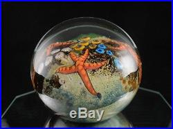 Cathy Richardson Art Glass 3 Starfish & Coral Reef Paperweight 2005