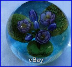 Cathy Richardson Paperweight Lily Pad on Pond with Purple Flowers 1 of 1