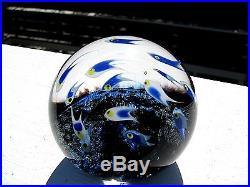 Cathy Richardson SEALIFE Art Glass PAPERWEIGHT School of Blue Fish, Signed, 2014