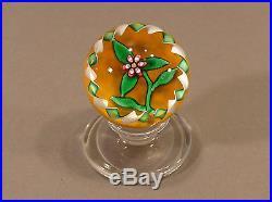 Charles Kaziun Flower Art Glass Tilted Pedestal Miniature Paperweight