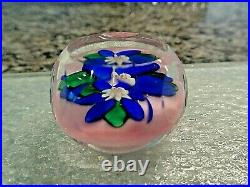 Charles Kaziun Jr Glass Miniature Blue Daffodil POSY FACETED Paperweight
