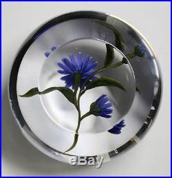 Chris Buzzine Lampwork Paperweight Blue Aster Flowers 1999 3 3/8