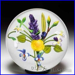 Chris Buzzini (1992) China rose, violet and lilac bouquet glass paperweight