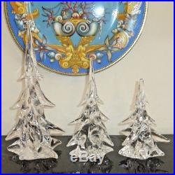Clichy French Art Glass Signed Clear Crystal Christmas Tree Form Paperweights