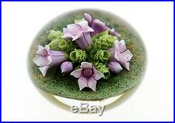 Clinton Smith Glass Paperweight Purple Mountain Saxifrage Flowers 2020 Lampwork