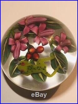 Colin Richardson Red Eye Tree Frog with Fuschia Art Glass Paperweight