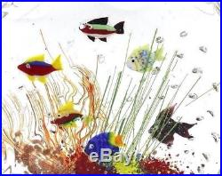 Colorful MURANO Swimming Fish AQUARIUM Art Glass BLOCK Paperweight SCULPTURE