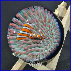 Coral Reef Anemone Clown Fish Art Glass Paper Weight By Trey Cornette