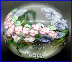 DANIEL SALAZAR Colorful Flowers Art Glass Magnum 2000 Paperweight, Aprx 4Hx5W