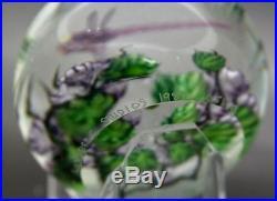 DANIEL SALAZAR Dragonfly & Dogwood 1988 Art Glass Paperweight, Aprx 2.5H x 3W