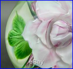 DANIEL SALAZAR Large Pink Rose & Small Roses Glass Paperweight, Apr 3.75Wx3.25H