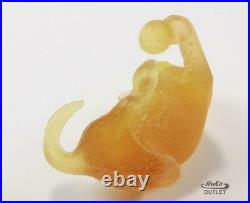 DAUM CAT with BALL PATE-DE-VERRE GLASS YELLOW TONE CRYSTAL FIGURINE PAPERWEIGHT
