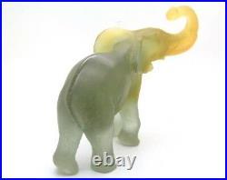 DAUM FRANCE Crystal Art Glass Pate de Verre Lucky Elephant Sculpture, Apr 5Hx7L