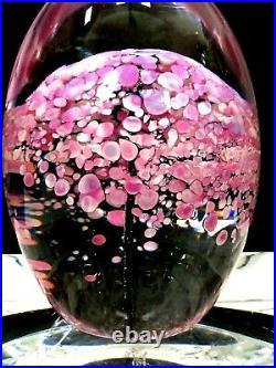 DAUM FRANCE Pink Flowers / Tree Art Glass Egg Shape Paperweight EXCELLENT