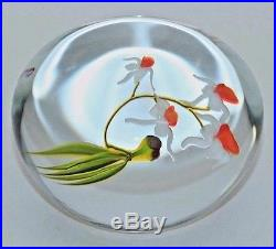 DAZZLING Paul STANKARD Four ORCHID BLOOMS Art Glass PAPERWEIGHT