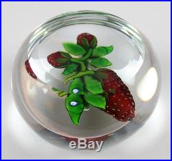Delmo Tarsitano Floral & Strawberry Art Glass Paperweight, Cane Signed