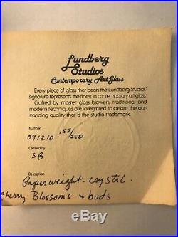 Daniel Salazar Lundberg Studios Signed Cherry Blossoms Paperweight 157/250