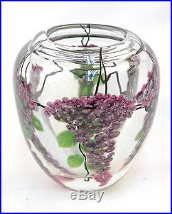 Daniel Salazar Lundberg Studios Wisteria Paperweight Art Glass Vase