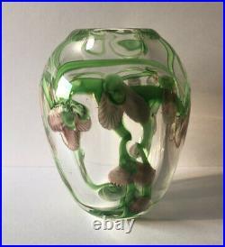 Daniel Salazar Studio Art Glass Cased Orchid Flower Lampwork Paperweight Vase