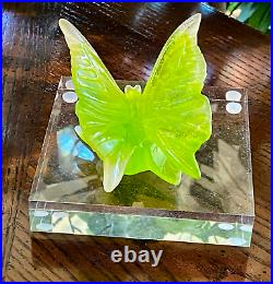 Daum France Butterfly Figurine Pate De Verre Crystal Sculpture Signed & Mint