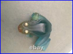 Daum France Frog Figurine/paperweight With Gold Eyes Signed