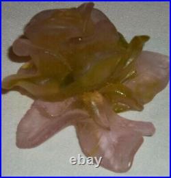 Daum France Lt Pink Green Flower Pate de Verre Signed Figurine Paperweight CC