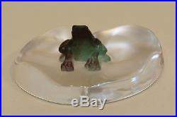 Daum France Pate de Verre Frog Frosted Art Glass Lily Pad Paperweight Figurine