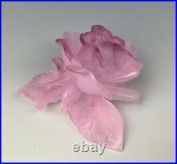 Daum Pate De Verre Pink Purple Rose Flower Figurine Paperweight Excellent