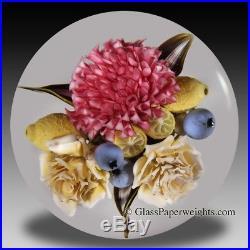 David Graeber pink hydrangea glass paperweight