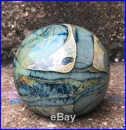 David Huchthausen Art Glass signed Paperweight Swirled Blue Green